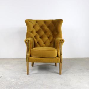 Croydon Wing Chair Plush Mustard