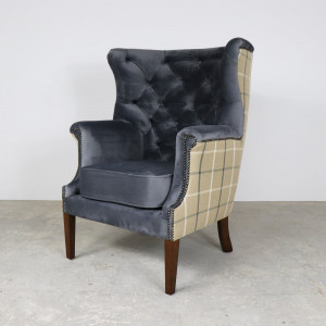 Croydon Wing Chair Plush Velvet with Fabric Back