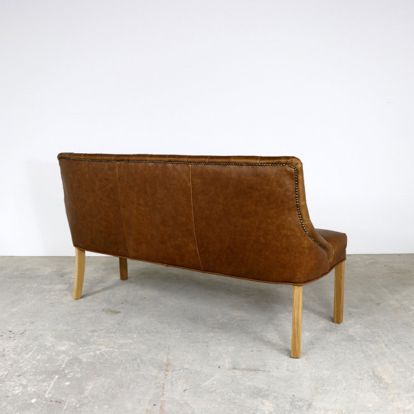 Stanley 3 Seater Bench in Brown Leather