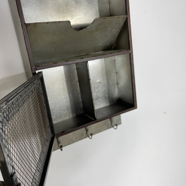 Metal Wall Storage Unit with Hooks