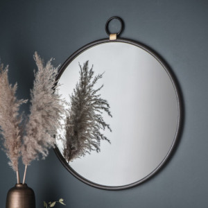 Compass Black Round Mirror