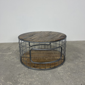 Mango and Steel Wired Round Coffee Table