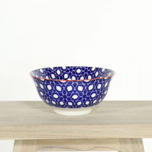 Glazed Bowl Blue Floral