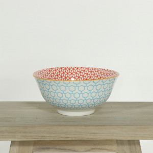 Glazed Bowl Geometric Blue