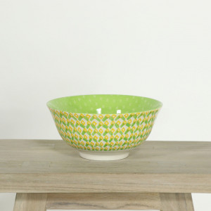 Glazed Bowl Geometric Green