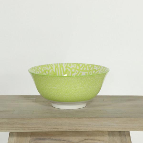Glazed Bowl Green and White Tile