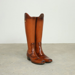 Pair of Leather Boots Umbrella Stand