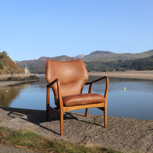 Brown Leather Solid Ash Chair