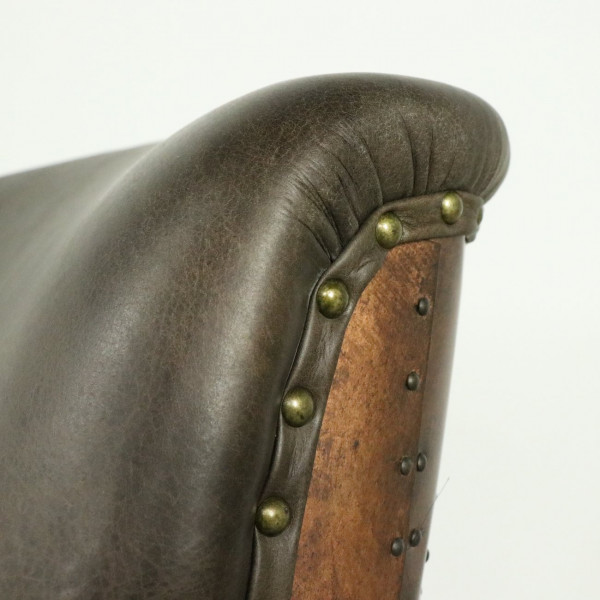 G Brown Leather Chair with Copper Back