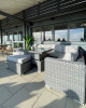 Rattan Low Back Sofa Set with Rising Table, Bench and Stool