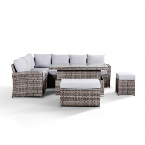 Rattan High Back Sofa with Rising Table, Bench and Stool