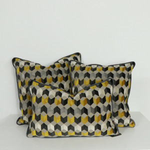 Saffron Geometric Cushion