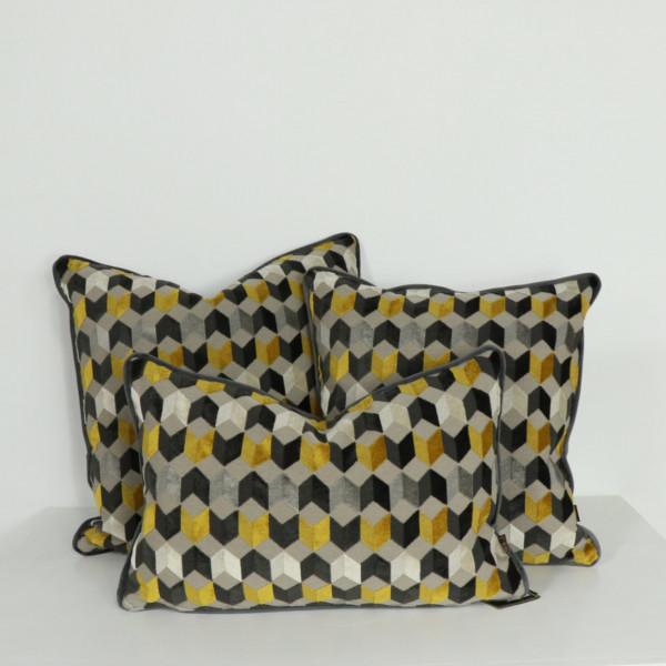 Saffron Geometric Cushion