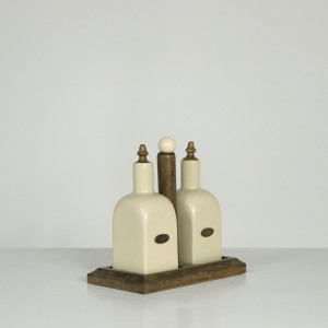Farmhouse Living Oil & Vinegar Wood Set