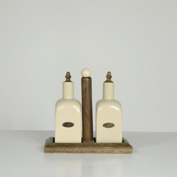 Farmhouse Living Oil & Vinegar Wood Set