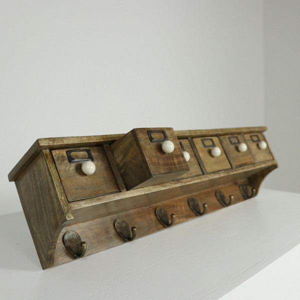 Six Drawer Wall Shelf with 6 Hooks