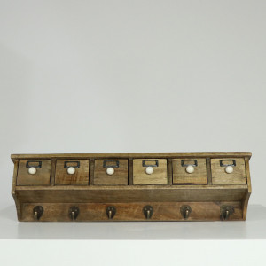 Six Drawer Wall Shelf with 6 Hooks