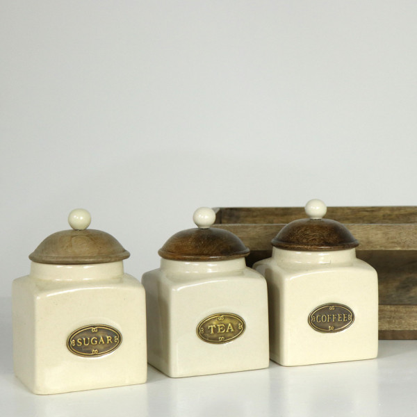 Farmhouse Living Rack of Tea Coffee & Sugar Stores