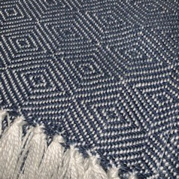 Navy/White Diamond Recycled Plastic Throw