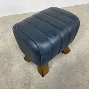 Blue Leather Footstool