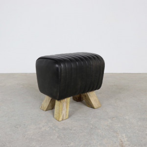 Black Leather Footstool
