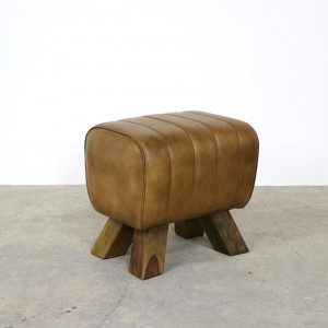 Brown Leather Footstool