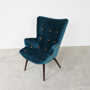 Retro Button Chair Teal/Tangerine