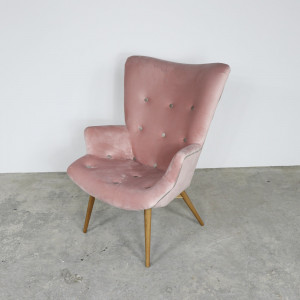 Retro Button Chair Pink/Mink